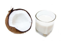 Glass with coconut milk Stock Images