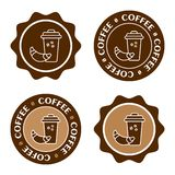 Glass of coffee with a croissant. Coffee label set, cafe logo, vector stock illustration
