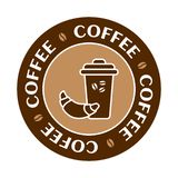 Glass of coffee with a croissant. Coffee label set, cafe logo, vector royalty free illustration