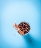 Glass coffee cup on blue Stock Image