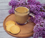 Glass coffee Cup with cookies and milk on a background of purple lilac Stock Photography