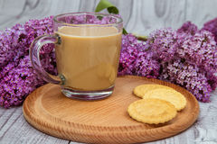 Glass coffee Cup with cookies and milk on a background of purple lilac Royalty Free Stock Photography
