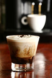 Coffee drink. Glass of coffee drink on a bar counter Stock Photography