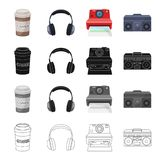A glass of coffee, an earphone, a camera polaroid, a music center. Hipster style set collection icons in cartoon black Royalty Free Stock Image