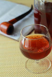 Glass with cognac Royalty Free Stock Images