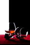 Glass of Cognac. The snifter glass of cognac Stock Photography