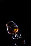 Glass with cognac alcohol Stock Photo