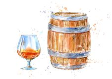 Glass of a cognac and barrel.Picture of a alcoholic drink. Watercolor hand drawn illustration.White background royalty free illustration