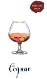 Glass of cognac stock illustration