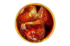 Glass of coke. With ice isolated, top view Stock Image