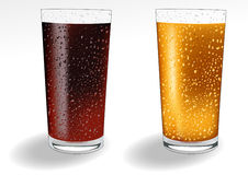 Glass_with_coke_and_orange_juice Stock Photos
