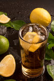 Glass of cola or coke with ice cubes Royalty Free Stock Photos