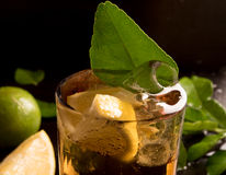 Glass of cola or coke with ice cubes Royalty Free Stock Photography