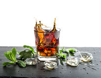 Glass of cola drink with ice. Food and beverages Royalty Free Stock Image