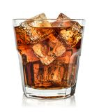 Glass of cola drink with ice. Isolated on white background Stock Photos