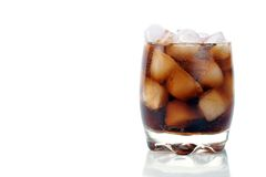 Glass with cola and ice Royalty Free Stock Image