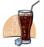 Glass of cola with ice vector illustration