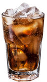 Glass of cola with ice cubes. Stock Photos