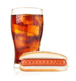 Glass of cola with ice and hot dog Stock Images