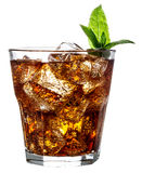 Glass of cola with ice isolated on white Royalty Free Stock Photo