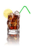 Glass of cola with ice and lemon Stock Photos