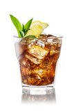 Glass of cola with ice, mint and lemon isolated on white. Clippi Stock Photos