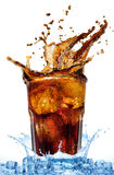 Glass with cola and ice Royalty Free Stock Photo