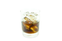 Glass of cola with ice on white Royalty Free Stock Images