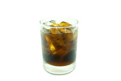 Glass of cola with ice on white Stock Photos