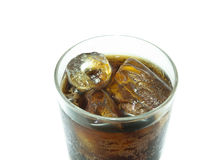 Glass of cola with ice on white background Stock Photo