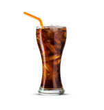 Glass of cola with ice on white background Stock Photos