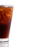 Glass of cola isolated on white. Glass of cola with copy space on the right Royalty Free Stock Photo