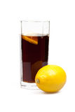 Glass with cola and lemon Stock Photo