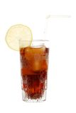 Glass of cola with lemon slice Royalty Free Stock Photos