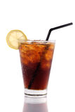 Glass of cola, slice of lemon, isolated on white. Royalty Free Stock Images