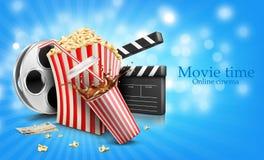 Glass of cola splash, popcorn and film Royalty Free Stock Photos