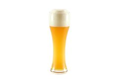 A glass of cold bavarian wheat beer isolated on wh Stock Images