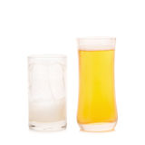 Glass of Cold Beer on White background Stock Photo
