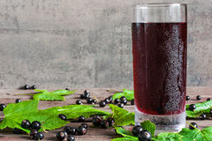 Glass of cold black currant juice with fresh berries Royalty Free Stock Image