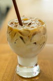 Glass Of Cold Coffee. On Wood Stock Images