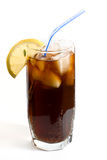Glass of cold drink. With slice of lemon Royalty Free Stock Images