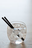 Glass of cold fresh water with ice Royalty Free Stock Image