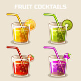 Glass of cold fruit cocktails with ice Royalty Free Stock Photos
