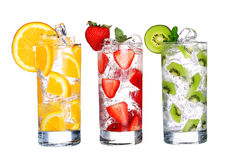 Glass Of Cold fruit Drinks collection  isolated on white Royalty Free Stock Images
