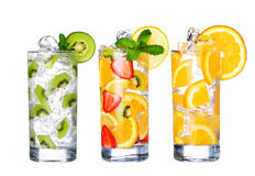 Glass Of Cold fruit Drinks collection  isolated on white Stock Photo