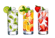 Glass Of Cold fruit Drinks collection  isolated on white Stock Photos