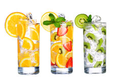 Glass Of Cold fruit Drinks collection  isolated on white Stock Image