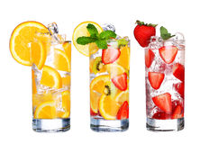 Glass Of Cold fruit Drinks collection  isolated on white Royalty Free Stock Photography