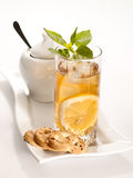 Glass of cold green tea Royalty Free Stock Image