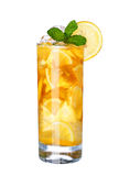 Glass Of Cold ice lemon tea Drink with mint isolated on white Royalty Free Stock Photos